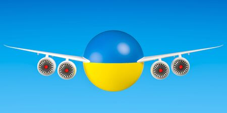 Ukrainian airlines and flyings concept. 3D rendering Stock Photo