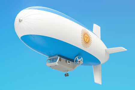 airship: Airship or dirigible balloon with Argentina flag, 3D rendering isolated on white background