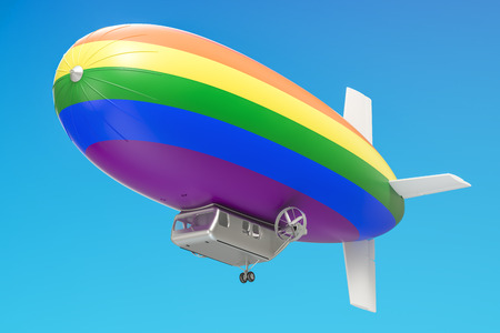 Airship or dirigible balloon with rainbow flag, 3D rendering