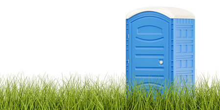 Portable blue toilet on the green grass, eco toilet concept. 3D rendering isolated on white background