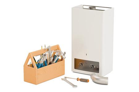 Service en reparatie van gas tankless water heater concept. 3D-weergave