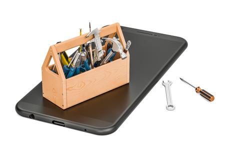 unblock: service and repair smartphone concept, 3D rendering