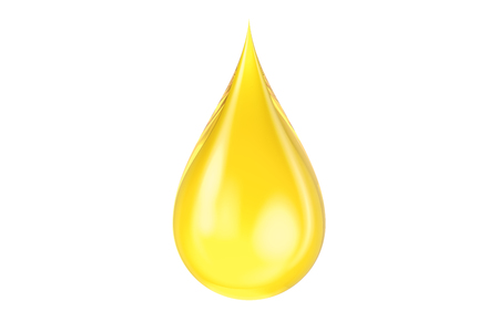 yellow oil drop, 3D rendering isolated on white background