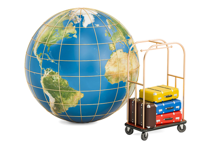 lodgings: Earth globe and hotel trolley with colored suitcases, 3D rendering isolated on white background Stock Photo