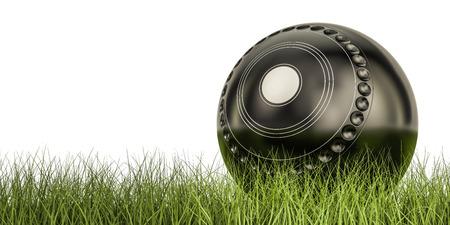 芝生ボール ボール コンセプトに孤立した白い背景のレンダリング 3 D、草の上 写真素材 - 81207626