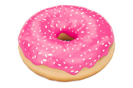 pink donut with decorative sprinkles, 3D rendering isolated on white background