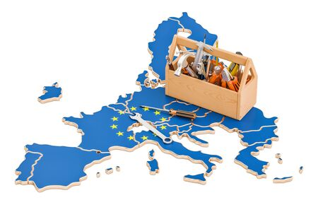 map toolkit: Service and repair in EU concept, 3D rendering Stock Photo