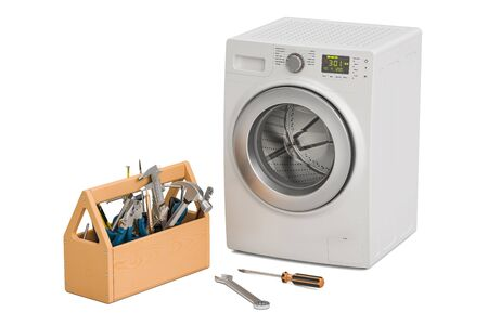Service and repair of washing machine concept. 3D rendering isolated on white background