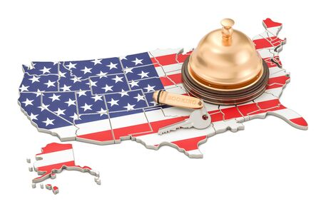 USA booking concept. US flag with Hotel key and reception bell, 3D rendering