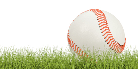 Baseball ball concept on the grass, 3D rendering isolated on white background