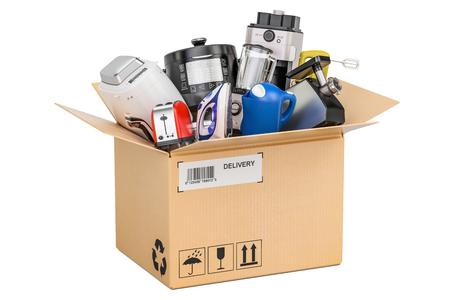 Kartonnen doos met huishoudelijke en keukenapparatuur, levering concept. 3D-rendering