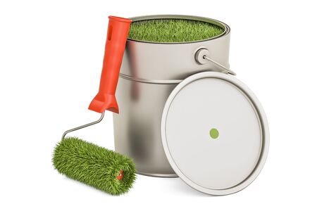 Eco-friendly paint concept. Can with grassy paint and roller brush, 3D rendering isolated on white background Stock Photo
