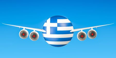 Greek airlines and flyings concept. 3D rendering