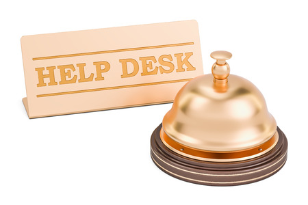 Help desk concept. Reception bell with plate, 3D rendering isolated on white background Stock Photo