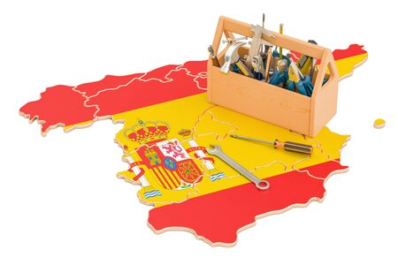 map toolkit: Service and repair in Spain concept, 3D rendering