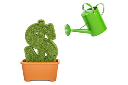 Money plant concept. Watering can water grassy dollar symbol, 3D rendering Stock Photo