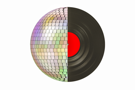 Musical party concept. Disco ball and vinyl record, 3D rendering isolated on white background