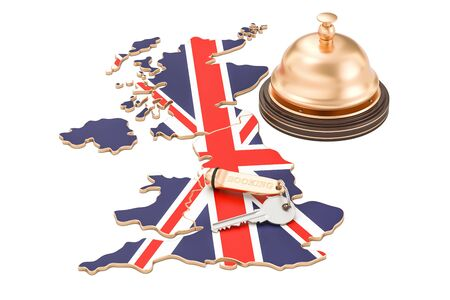 UK booking concept. British flag with hotel key and reception bell, 3D rendering Stock Photo