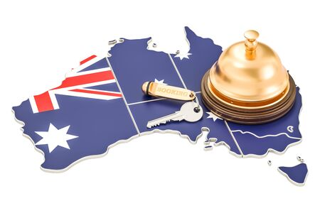 announce: Australia booking concept. Australian flag with hotel key and reception bell, 3D rendering