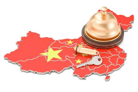China booking concept. Chinese flag with hotel key and reception bell, 3D rendering Stock Photo