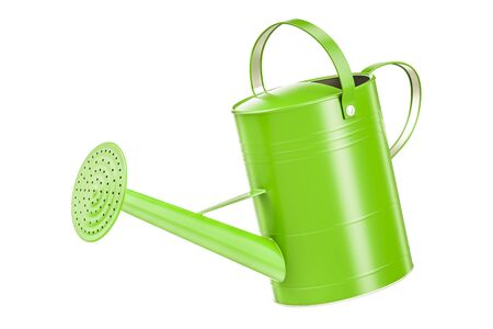 Green watering can, 3D rendering isolated on white background Фото со стока - 81347572