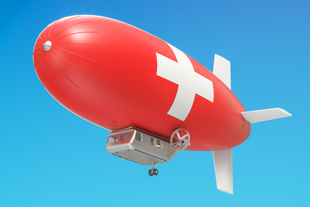 Airship or dirigible balloon with Switzerland flag, 3D rendering