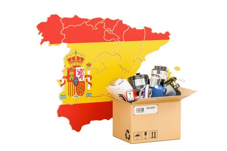 Production, shopping and delivery of household appliances from Spain concept, 3D rendering