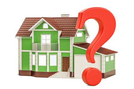 House with question mark, 3D rendering Stock Photo