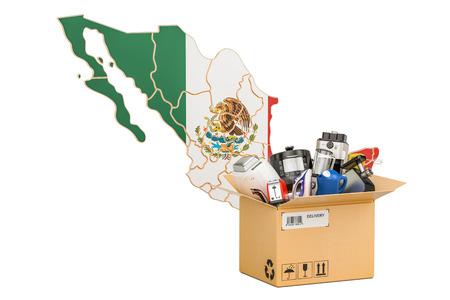 Production, shopping and delivery of household appliances from Mexico concept, 3D rendering