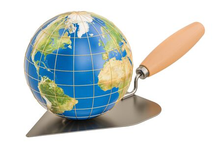 freemasonry: masonry trowel with Earth Globe, 3D rendering isolated on white background Stock Photo