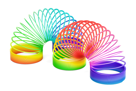 Rainbow plastic slinky toys, 3D rendering isolated on white background