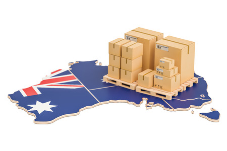 Shipping and Delivery from Australia isolated on white background