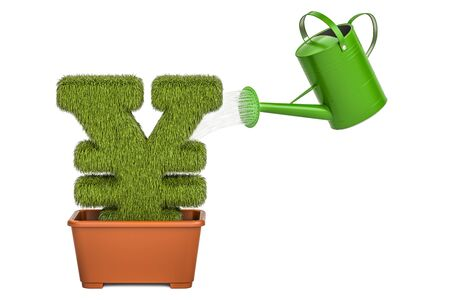 Watering can water grassy yen or yuan symbol. Money plant concept, 3D rendering