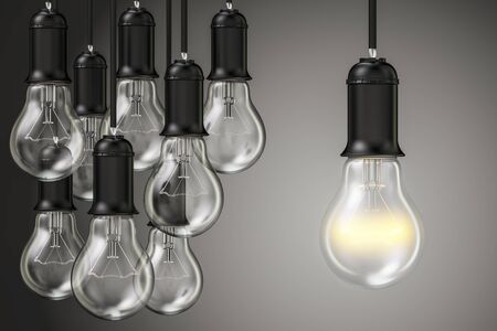 solve: Idea concept, group of lightbulbs in the dark. 3D rendering Stock Photo
