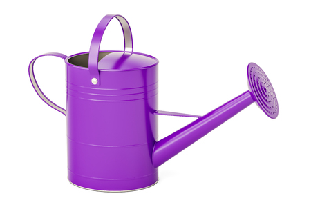 Purple watering can, 3D rendering isolated on white background Фото со стока
