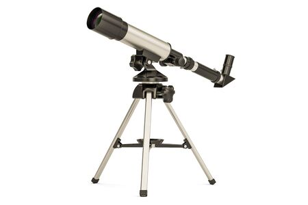 Telescope closeup, 3D rendering isolated on white background Stock Photo