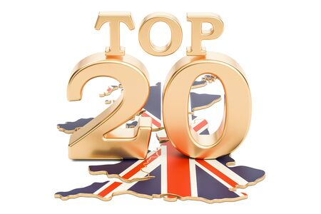 UK Top 20 concept, 3D rendering isolated on white background