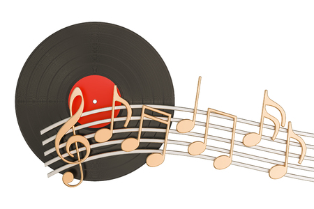 Vinyl record with music notes, musical concept. 3D rendering isolated on white background Stock Photo