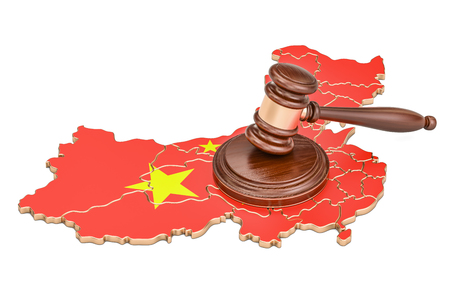 Wooden Gavel on map of China, 3D rendering isolated on white background