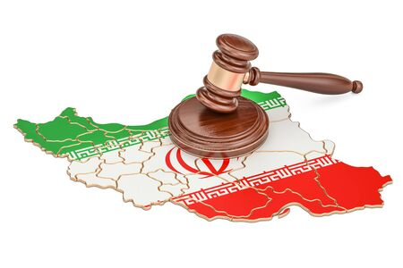 Wooden Gavel on map of Iran, 3D rendering Stock Photo