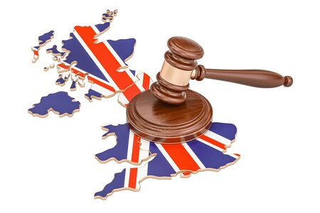 Wooden Gavel on map of United Kingdom, 3D rendering isolated on white background Stock Photo