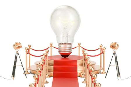 Podium with lightbulb, idea concept. 3D rendering isolated on white background Stock Photo
