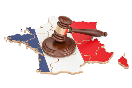 Wooden Gavel on map of France, 3D rendering isolated on white background Stock Photo