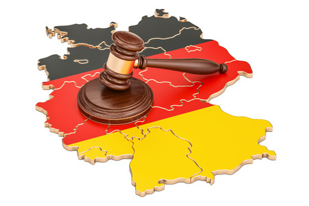Wooden Gavel on map of Germany, 3D rendering isolated on white background