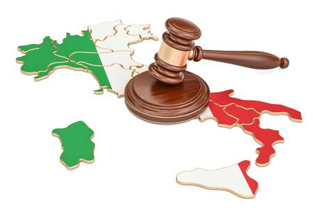 Wooden Gavel on map of Italy, 3D rendering isolated on white background Stock Photo