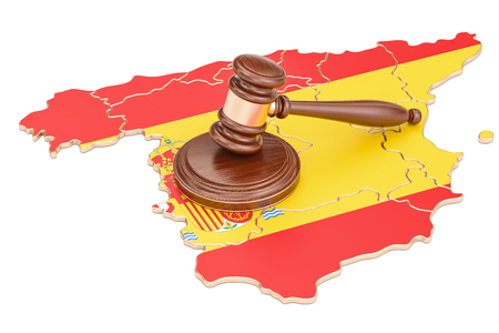 Wooden Gavel on map of Spain, 3D rendering isolated on white background
