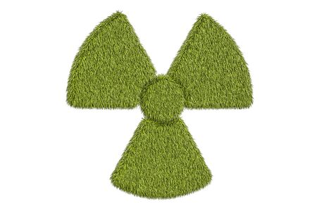 radioactive warning symbol: radiation symbol from grass, 3D rendering isolated on white background Stock Photo