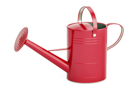 Red watering can, 3D rendering isolated on white background Stock Photo