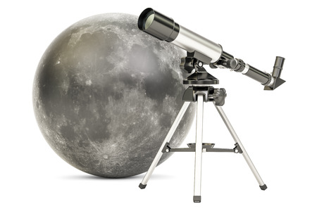 observation: Telescope with moon, 3D rendering isolated on white background