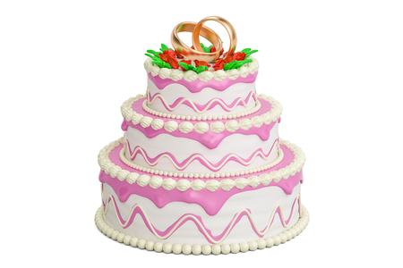 Wedding cake, 3D rendering isolated on white background